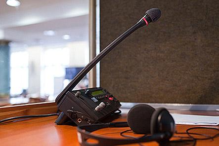 Mikrofon v tlumočnické kabině - LANGEO
