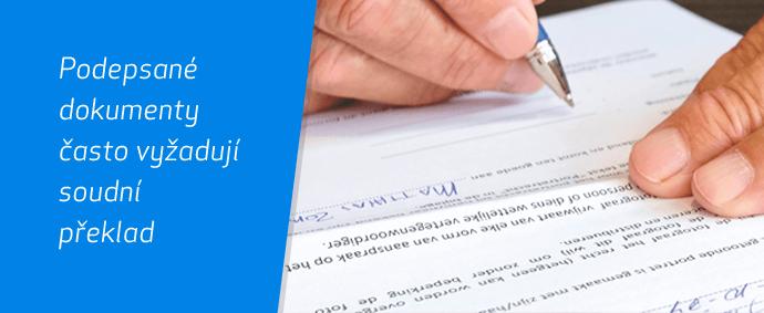 Podepsaný dokument určený k soudnímu překladu