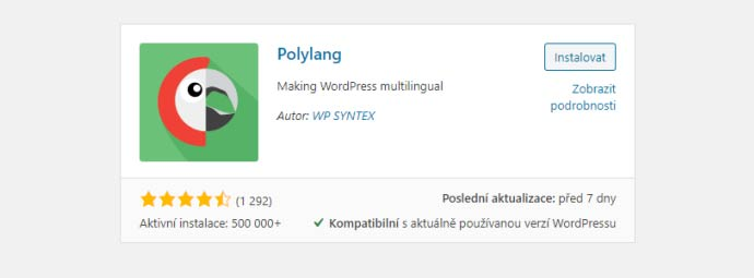 Instalace pluginu Polylang